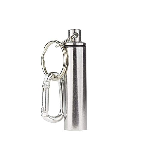 GMS Pill Holder Polished Stainless Steel Keychain Travel Pill Fob with Key Ring and Carabiner Clip Holds Small Medicine Vitamins Tablets Multi-Purpose Container (Key Money Clip Fob)