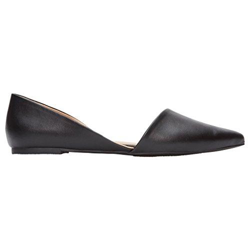 Rohb by Joyce Azria Provence D'Orsay Pointy Toe Flat (Black Pu) Size...