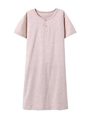 BAIYIXIN Fashion Store Girls Short Sleeve Summer Organic Cotton Sleepwear Dress Pajamas Nightgown Kids Toddler(3y-12y)