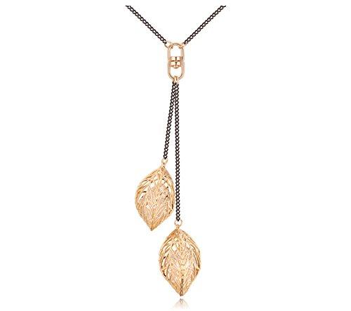 Classic Leaf Tassel Black Chain Long Sweater Necklace Korean Pendant Jewelry ()