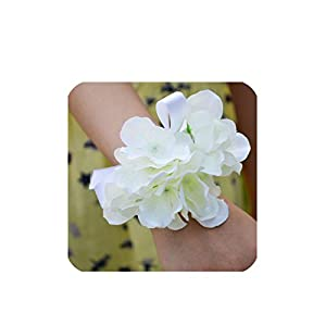 Silk Hydrangea Flower Artificial Bride Bridesmaid Hand Wrist Wedding Party Prom Decor Girl Bracelet Bridal Wristband Corsage,Light Ivory