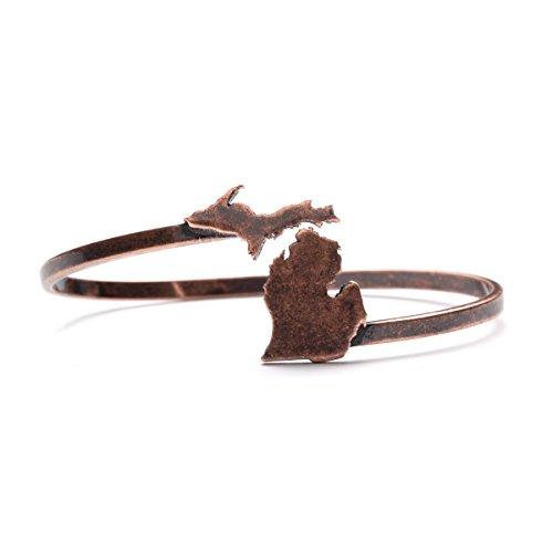 Michigan Bracelet | Michigan Map Bangle Bracelet | Michigan Gifts | Michigan Jewelry | Antique Copper Plated
