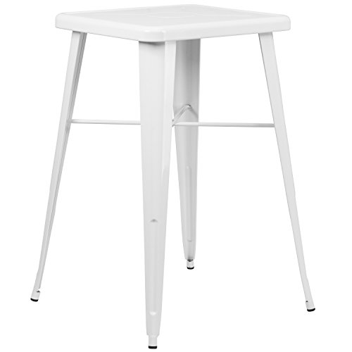 Flash Furniture 23.75'' Square White Metal Indoor-Outdoor Bar Height Table, CH-31330-WH-GG from Flash Furniture