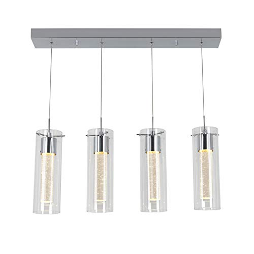 (Artika OME59 4-Pendant Dimmable Light Fixture with Integrated Led and Premium Bubble Glass, Chrome Plated )