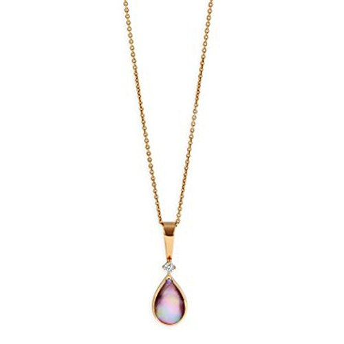 Kabana 14k Rose Gold Pink Mother of Pearl and Diamond Necklace