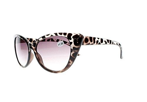 Multi-Colors Designer Stylish Women Cat Eye Reading Glasses Sunglasses Grey Lens Sun Readers +1.00~+4.00 (Tortoise, 1.5)