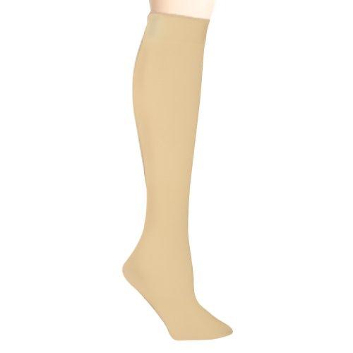 Luxury Divas Beige Fleece Lined Knit Microfiber Knee-High Socks