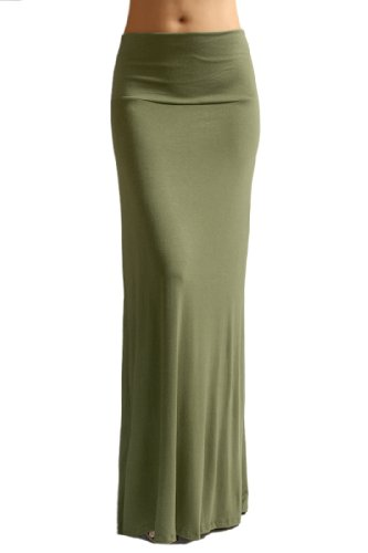 Azules Women'S Rayon Span Maxi Skirt - Solid medium Olive