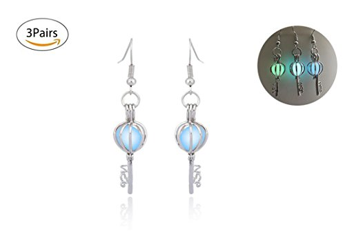 (Healthcom Light Up Earrings Piercing Earrings Studs Flashing Blinking Earrings Studs Dance Party Accessories Gifts, 3 Pairs)