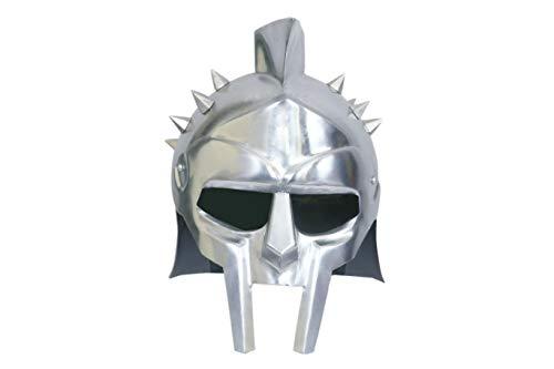 MUTU World Mens Gladiator Maximus Arena Helmet | Wearable Medieval Helmet Full Size |Halloween Party Costumes | LARP Clothings Movie Dresses w Inner Liner -
