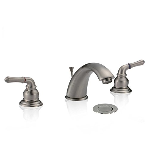 "8"" Widespread Bathroom kitchen commercial Sink Faucet two-handle with Drain Brushed Nickel new"