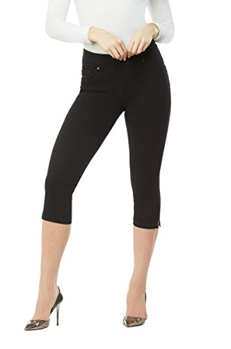 LUXE DENIM SLIMS Notch Capri Jeans Black Rinse M