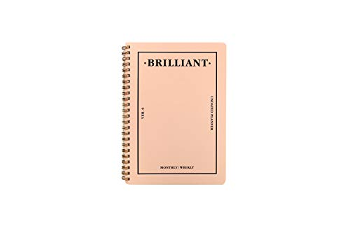 PAPERIAN Brilliant Monthly & Weekly Planner - Wirebound Undated Monthly &Weekly Planner book Scheduler Diary (Shell Pink)