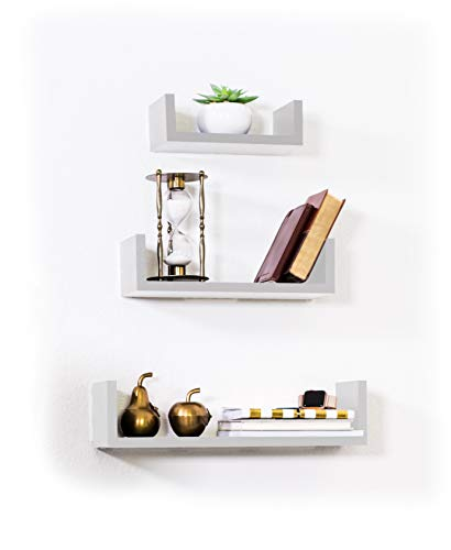 Adorn Home Essentials Floating Shelves Set of 3 with Modern U Shape and Durable Design, Simple Hanging Kit Included (White)