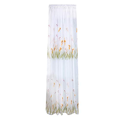 Yucode Printed Sheer Curtain Voile Curtain Home Curtains Sheer Window Curtain Panel Pair with Grommet Top
