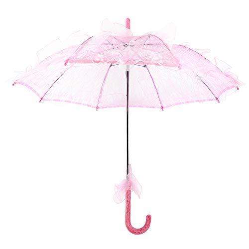 Fdit Bridal Lace Cotton Umbrella Parasol Costume for Wedding Parties Dancing Photography Prop(Pink)