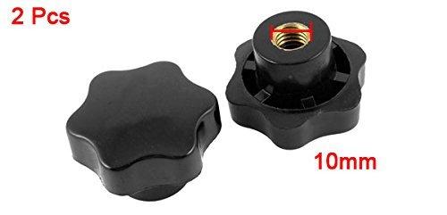 2 piezas de 10 mm Di/ámetro de la rosca hembra del tornillo en el tipo de estrella Perillas Negro