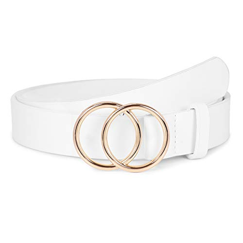 Women's Leather Ring Belt for Jean, Double Circle Buckle Belts Fit Waist 26-42 Inch (A Golden White, Fit Waist Size 26-30inch)