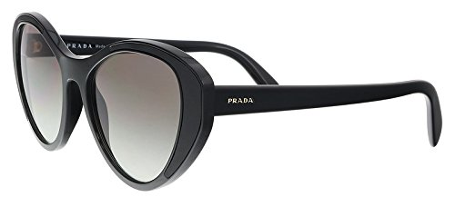 Prada PR14US 1AB0A7 Black PR14US Cats Eyes Sunglasses Lens Category 2 Size 55mm ()