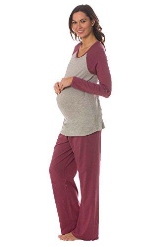 Majamas Pastime Maternity Nursing Lounge Pajama Set (Large, Baya)