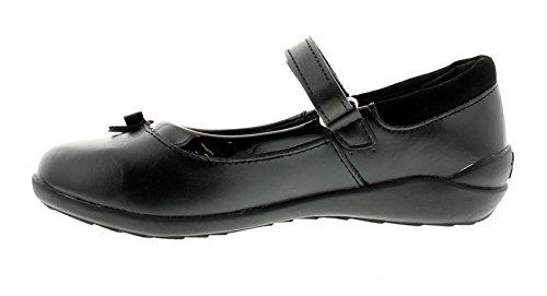 Mädchen beschichtetes Leder schulschuh verfügt über Einzel Riemen mit Touch Verschluss lack-rand und Schleife zu dem Vamp - schwarz / beschichtetes Leder - UK Größen 1-13
