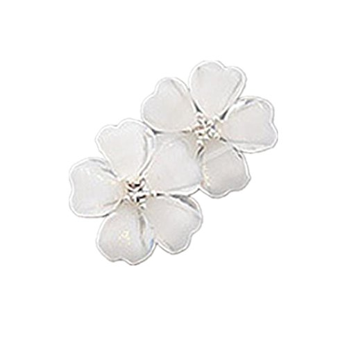 Flower Ring Fashion Rhinestone (Clearance! Lethez 1Pair Women Flower Crystal Stud Earrings Rhinestone Flowers Fashion Jewelry for Girls (White))