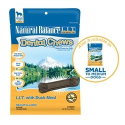 Natural Balance Dental Chews Limited Ingredient Duck Meal Formula Medium Dog Treats, 13 Ounce