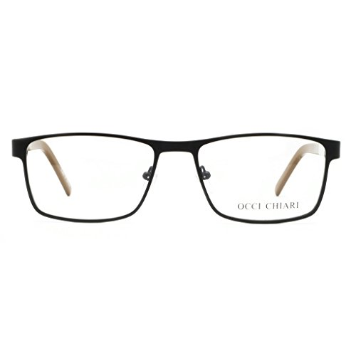 Eyewear Frame Men-OCCI CHIARI-Metal Optical Eyeglasses With Clear Lenses (Dull Gold, 54)