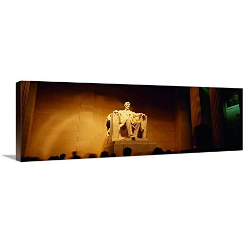 GREATBIGCANVAS Gallery-Wrapped Canvas Entitled Low Angle View of a Statue, Lincoln Memorial, Washington DC by 48
