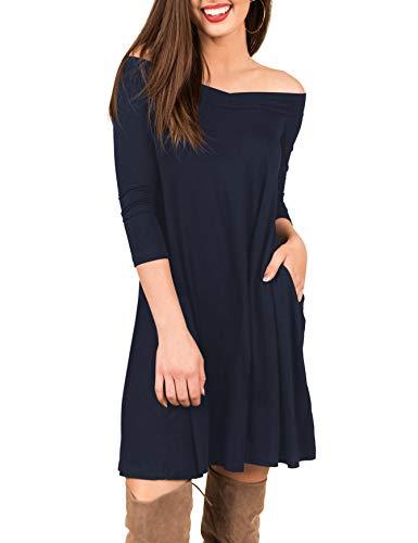 Shoulder 3/4 Sleeve Dress - TECREW Women's Off Shoulder V Neck 3/4 Sleeve Tunic Dress Casual Swing T-Shirt Dress Pockets