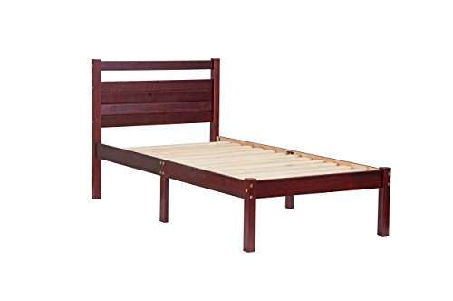 """Palace Imports 100% Solid Wood Bronx Twin Bed-in-a-Box by, Mahogany Color, 41.5""""W x 39.5""""H x 79""""L, 12 Slats Included. Optional Drawers, Safety Rail Guard Sold Separately. Requires Assembly"""