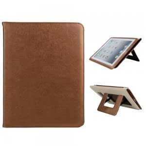 Silk Print PU Leather Protective Case with Dual Holders for iPad 2/3/4 Brown