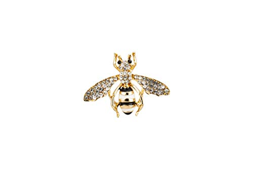 Knighthood Black White and Gold Bee with Swarovski Detailing Brooch