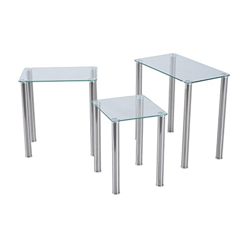 HOMCOM 3pcs Nest of Tables End Side Coffee Table Nested Stainless Steel Modern Tempered Glass Top Living Room Furniture (Transparent)