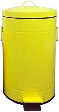 滑らかな表面 サイレント黄色のゴミ箱は、ステンレス製のキッチン分類ゴミをきれいにするタイプのカバー屋内ゴミ箱簡単にペダルことができます リサイクル可能なデザイン (Color : Yellow, Size : 12L)