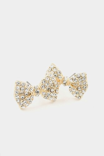 Karmas Canvas Rhinestone Bow Post Earring (Gold/Clear) (Small Trifari Gold Hoop)