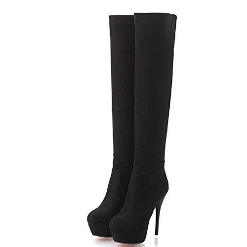 black la Impermeable sobre resistente Botas desgaste al Mujeres alto de Nuevo Conjunto Resistente Caucho Fine Tacón Botas Taiwán rodilla Suelas pies Antideslizante B1wHgU