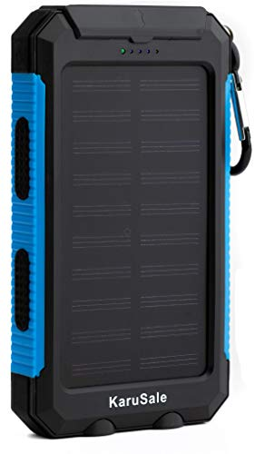 Solar Power Bank Portable Charger 50000mah Battery Pack 2 LED Black and Blue