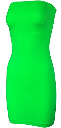 KMystic Seamless Strapless Tube Slip Dress (Neon Green),One - Dress Summer Neon Women Green