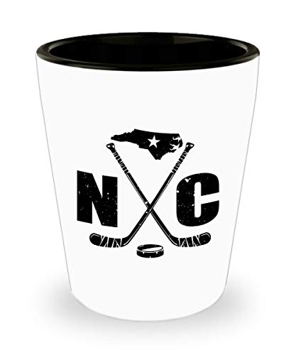NC Hockey Shot Glass North Carolina State Ice Hockey Image Jigger Gift - 1.5 Oz Shot Glasses