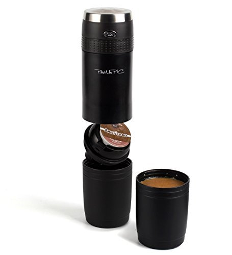 Pamapic Portable Coffee Maker, Mini Electric Espresso Machine with Reusable K-cup Coffee Filter (Ground Coffee & Capsule Compatible), Quick Coffee Machine for Travel, Home, Office 【240ML, Black】