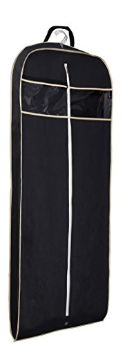 MISSLO Gusseted 60'' Suit Dress Garment Bag with Clear Window Zipper Pocket Long Garment Cover (Black) by MISSLO
