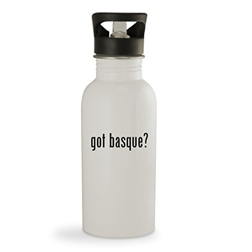 got basque? - 20oz Sturdy Stainless Steel Water Bottle, White (Outdoor Curtains Barn Pottery)