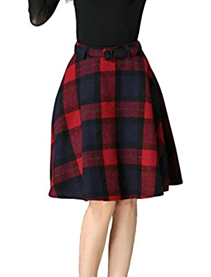 Zantt Women's A-Line High Waist Basic Plaid Wool Blend Swing Mini Skirts