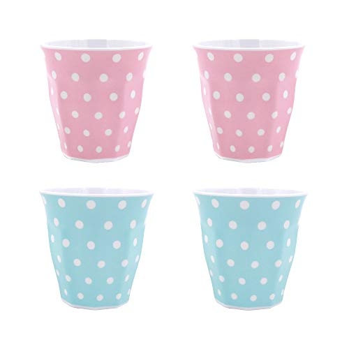 GNGS A5 Melamine Cups Mugs | Polka Dots, Eco-friendly, BPA Free, Dishwasher Safe | 8.88oz / 260ml, Set of 4 in 2 Assorted Colors (Dishwasher Safe Melamine Mug)