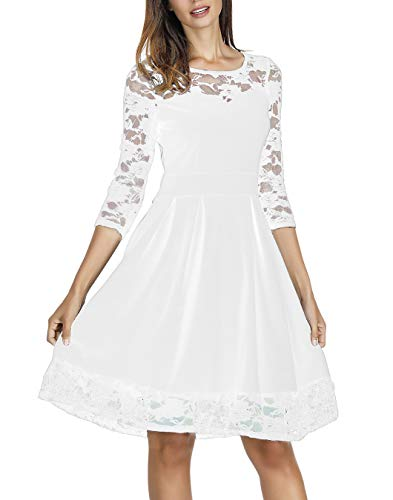 (Akivide Women Three Quarters Sleeve Sleeve Cocktail Party Dresses (White 2, S))