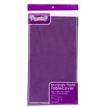 (3-PACK DISPOSABLE PLASTIC TABLE COVERS / TABLECLOTHS (PURPLE))