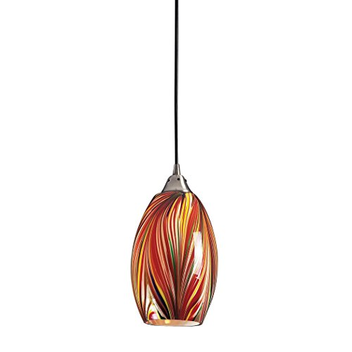 Elk 517-1M 1-Light Pendant In Satin Nickel with Multi Colors Swirled Glass (Blown Swirled Glass)