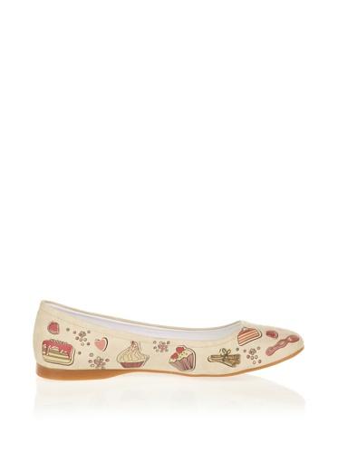 pour ivoire femme Paws beige Cute Ballerines qnxEf8wxY