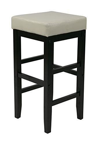Vinyl Square Bar Stools (Office Star Metro Faux Leather Square Barstool with Espresso Legs, 30-inch, Cream)